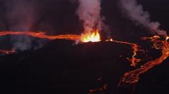 Aerial Night Volcano Lava Holuhraun Seismic Activity Land Fissures Iceland - stock footage