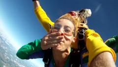 Skydiving tandem hand cam Stock Footage
