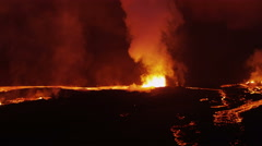 Stock Video Footage of Aerial Red Hot Lava Flowing Holuhraun Volcano Eruption Travel Iceland
