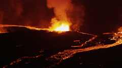 Aerial Night Volcano Lava Holuhraun Seismic Activity Land Fissures Iceland - stock footage