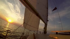 Yacht Sailing in Sunrise HD Stock Footage