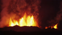 Night Volcano Lava Holuhraun Seismic Activity Land Fissures Barren Iceland - stock footage