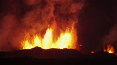 Explosive Night Inferno Red Volcanic Holuhraun Magma Boiling Lava Iceland - stock footage