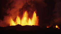 Night Fire Volcano Molten Lava Exploding Activity Magma Holuhraun Iceland - stock footage