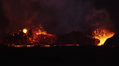 Red Volcanic Molten Lava Holuhraun Active Emissions Bardarbunga Iceland Stock Footage