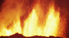 Explosive Night Inferno Red Holuhraun Volcanic Magma Boiling Lava Iceland - stock footage