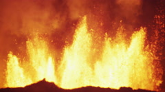 Night Scenic Fire Volcanic Molten Lava Exploding Magma Fissures Travel Iceland - stock footage