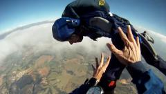 Skydiving student starts a fast spinning - stock footage