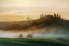 Early morning on countryside, San Quirico d´Orcia, Tuscany, Italy Stock Photos
