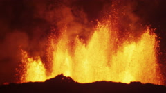 Night Scenic Fire Volcanic Molten Lava Exploding Magma Open Fissures Iceland - stock footage