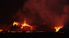 Explosive Night Inferno Red Volcanic Geothermal Magma Boiling Lava Iceland - stock footage