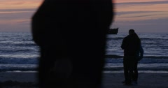 Couple Man And Woman Are Standing at The Sea Walking People Coastline Seaside Stock Footage