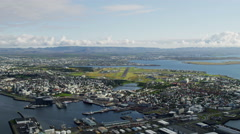 Aerial Reykjavik Iceland harbor city capitol commerce trade port Europe Stock Footage