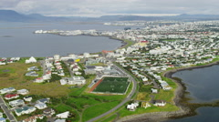 Aerial natural coastline bays inlets harbor entrance Reykjavik Iceland Stock Footage