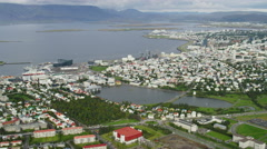 Aerial Iceland Reykjavik capitol city trade business economy travel Stock Footage