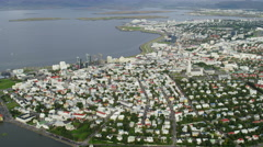 Aerial Reykjavik Iceland City Suburban Living Lifestyle Homes Europe Stock Footage