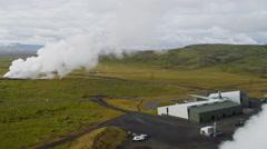 Aerial Geothermal Industrial Renewable Clean Power Energy Plant Iceland Stock Footage