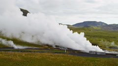 Stock Video Footage of Aerial Underground Production Volcanic Geothermal Sustainable Power Iceland