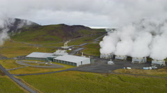 Aerial Icelandic Geothermal Industrial Plant Volcanic Steam Energy Iceland Stock Footage