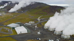 Aerial Geothermal Industrial Renewable Clean Power Energy Plant Iceland Stock Footage