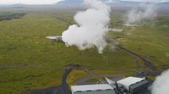 Aerial Iceland Natural Resources Hot Steam Geothermal Industry Electricity - stock footage