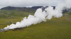 Aerial Iceland Natural Resources Hot Steam Geothermal Industry Europe - stock footage