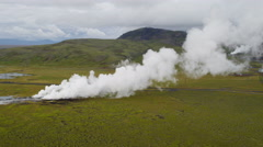 Aerial Underground Production Volcanic Geothermal Sustainable Power Iceland - stock footage
