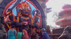 The Kala Bhairava statue at the Durbar Square in Kathmandu, Nepal Stock Footage