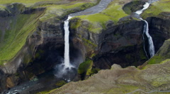 Aerial Haifoss  Waterfalls  Water Power Scenic Beauty Iceland Europe Stock Footage