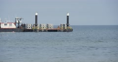 Cargo Barge Floats On The Sea Aggradation Of Soil Creation Of Dam Groynes Stock Footage