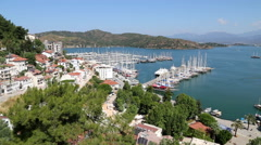 Panoramic aerial view of Fethiye marine and city center Stock Footage