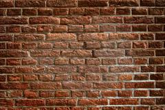 Wall from red bricks appropriate for wallpaper - stock photo