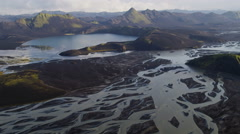 Aerial Glacial Meltwaters Volcanic Ash River Delta Flood Plain Landscape Iceland - stock footage