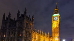 Panning time-lapse of Big Ben and Westminster in London Stock Footage