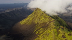 Aerial mountain region unpolluted wilderness volcanic tourism Iceland - stock footage