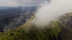 Aerial low mist cloud mountainous region Iceland  volcanic - stock footage