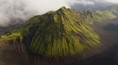 Aerial mountain region Iceland highlands volcanic area rocky peaks - stock footage
