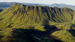 Aerial extreme terrain mountain region wilderness volcanic arctic Iceland - stock footage