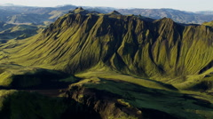 Aerial mountain highlands wilderness volcanic hiking Iceland - stock footage