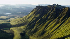 Aerial Central Highlands Iceland volcanic mountainous wilderness glacial - stock footage