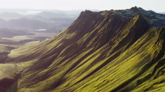Aerial extreme terrain mountain volcanic region arctic glacial Iceland - stock footage