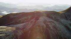Aerial Central Highlands Iceland sun flare volcanic travel tourism Europe Stock Footage