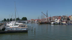 Holland, Volendam Harbour, Harbor, Haven Port, view from the water - stock footage