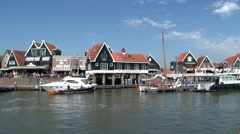 Holland, Volendam Harbour, Harbor, Haven Port, view from the water Stock Footage