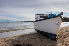 Beached Fishing Boat Stock Photos