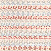 Stock Illustration of Yoga  seamless pattern. Light blue, beige and red