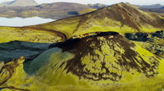 Aerial volcanic glacial meltwater lake natural erosion  wilderness Iceland Stock Footage