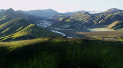 Aerial Landmannalaugar river mountains deltas volcanic region Iceland - stock footage