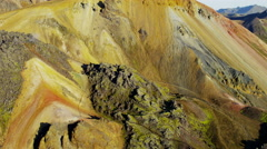 Aerial mountain minerals volcanic thermal energy Landmannalaugar Iceland Stock Footage
