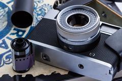 Old Rangefinder Camera - stock photo